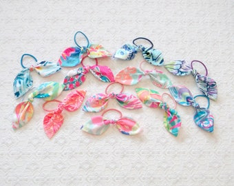 Preppy Lilly Pulitzer Fabric Bow Ponytail Holder 12 Colors