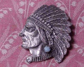 Vintage Native American Indian chief Brooch pin