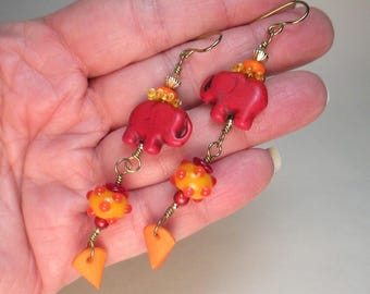 Lucky Elephant and Polka-Dot Handmade Lampwork Glass Bead Earrings by Patti Cahill