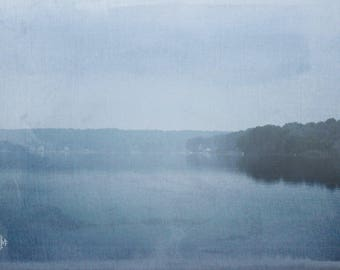 "Landscape Photography, Dreamy, Mist, Water, Reflection, Lake, Blue, 6x9 or 8x12. ""Summer Morning""."