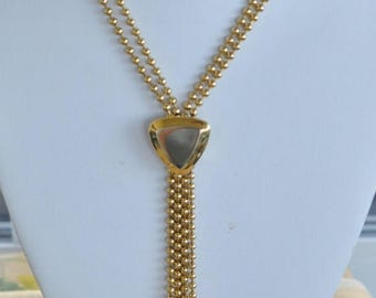 """ON SALE Pretty Vintage Gold tone Beaded Lariat Necklace, 36"""" (AC7)"""