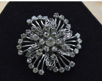 ON SALE Pretty Vintage Rhinestone Floral Swirl Brooch, Silver tone