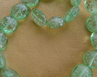 "ON SALE Pretty Mint Green, Copper Glass Beads, 15"", Supplies, Beads, Crafts, Repurpose, Destash"