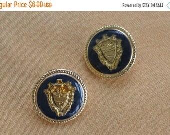 ON SALE Pretty Vintage Navy Blue Crest Buttons, Gold tone, Supplies, Crafts, Upcycle Destash