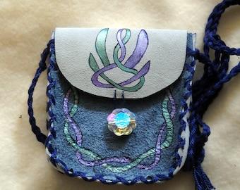 Celtic Swan Suede Medicine Bag, Shaman Spell Bag