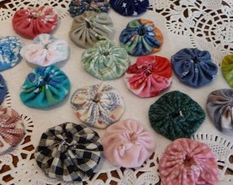 Fabric YoYos, 20 YoYos, Handmade, 1.5 inch YoYos, Sewing Supplies, Vintage Newer Fabrics, Multi Colors, Craft Supplies,Embellishments,Unique