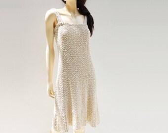 70s Off White Dress Vintage Linen Dress Sleeveless Dress Pure Irish Linen Natural Linen Dress Republic of Ireland 1970s Pallas Original s