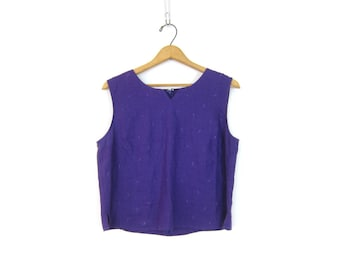 Purple Linen Tank Top 90s Modern Easy Tank Top Minimal Sleeveless Blouse Vintage Casual Summer Crop Top Boxy Linen Tank Womens Size Large