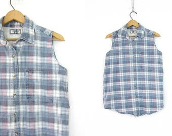 Faded Plaid Cotton Shirt Collar Button Up Shirt 80s Sleeveless Preppy Oxford Tee Blue and White Shirt Women's Size Small