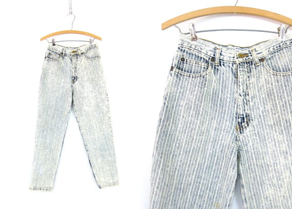 1980s Denim Jeans Pinstriped Blue White High Waist Acid Wash Jeans Zipper Cuff Skinny Jeans Tapered Leg Womens Size 9 28 Inch Waist