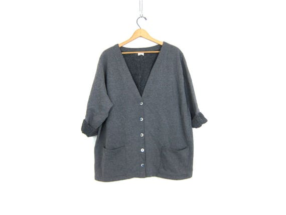 Long gray Sweatshirt Cardigan Vintage Athletic Sporty Sweatshirt Slouchy Minimal Plain Basic Pocket Sweater Womens 2X XXL