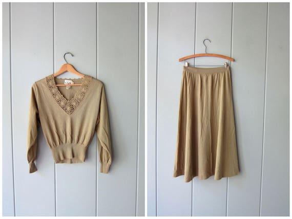 Vintage Sweater & Skirt Set Thin Wool Blend Basic Skirt Set Long Midi Sweater Skirt Minimal Modern Crop Top Crochet Blouse Womens Small