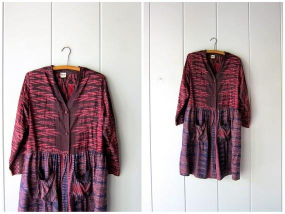 70s Ethnic Thai Silk Dress Vintage Ikat Dress Pink Purple Tribal Bohemian Dress Long Sleeve Pocket Dress Midi Dress Womens Medium Large