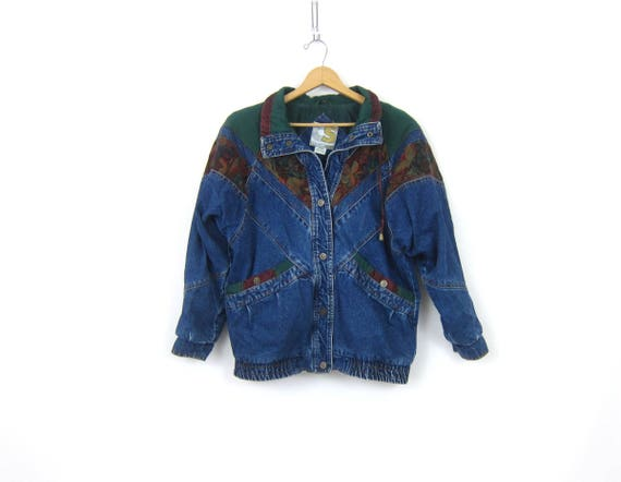 Oversized 80s Jean Jacket Fabric Patches Slouchy Denim Coat BaggyWinter Jacket Indie Hipster Vintage Women's Size Medium