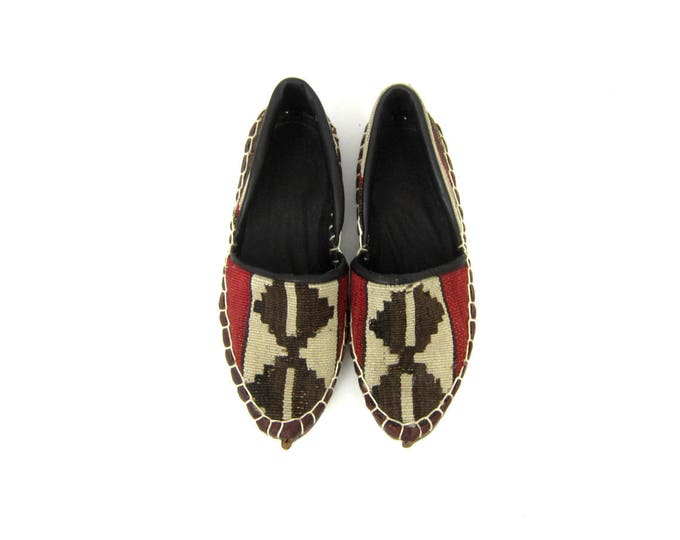 Woven Fabric Moroccan Shoes Tribal Ikat Leather Slip On Slipper Sandals Modern Boho Chic Loafers Ethnic Shoes Womens Size EU 37 US 6.5