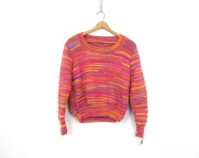 Handknit Pink Striped Sweater Hand Knit Vintage Spring Sweater Thick Stripe Shirt Top Women's Scoop Neck Womens Size Medium