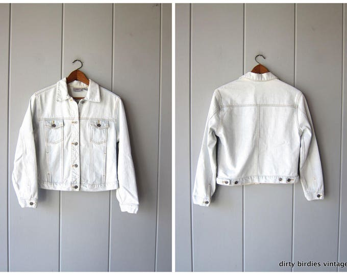 90s Chambray Jean Jacket | Light Wash Denim Jacket | Washed Out Denim Coat | Cropped Jean Jacket Hipster Boho Womens Medium