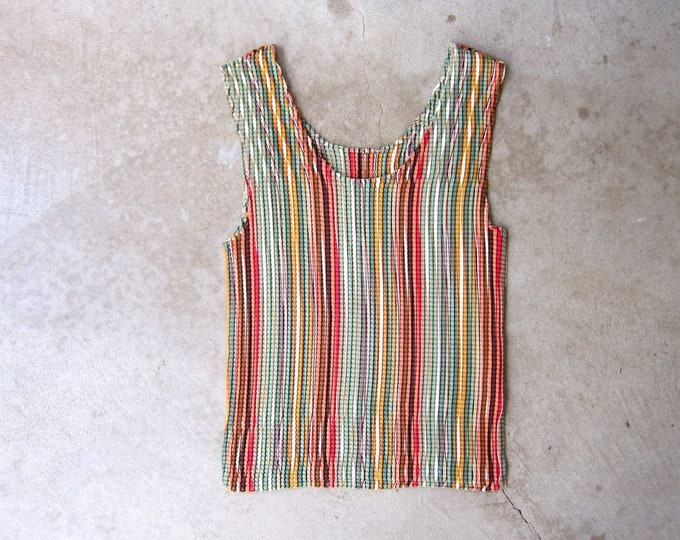 Textured Striped Tank Top Minimal Stretch Top Summer Spring Orange Green Red Modern Blouse Womens Large