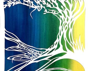 Oseh Shalom Papercut Gift - Bar Mitzvah Bat Mitzvah Gift - Jewish Peace Prayer