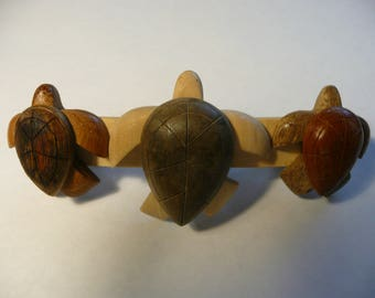 Large Sea Turtle Wooden Hair Barrette French Clip