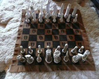 Hand Carved Elk and Deer Antler Chess Set with Cow Hide Game Board