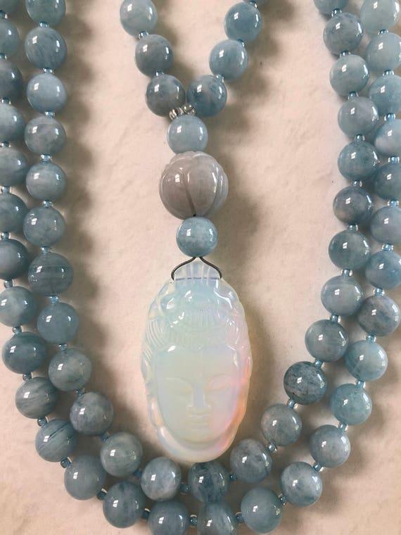 Aquamarine and Opalite Mala/Prayer Beads