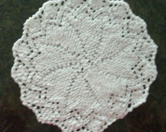 Hand Knit White Dishcloth, Washcloth, or a Doily - measures approximately 10x10 inches