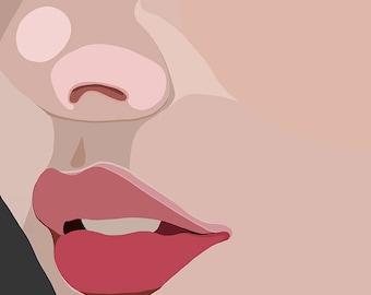 "Abstract, Modern Portrait ""Up Close"" by Jules Tillman - Fine Art Lustre Print minimal woman abstract portraiture millennial pink close up"