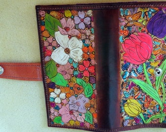 Leather Regular Check Book Cover Flower Garden Design with Brown Border Made in GA USA OOAK