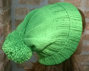 Knit Hat, Hand Knit Hat, Pompom hat in green, Slouchy Beanie, Winter Hat, Womens Hat, Green Knit Hat, Knit Pompom Hat, womens winter hat