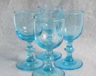 Set of 4 Vintage Capri Blue Glass Cordials