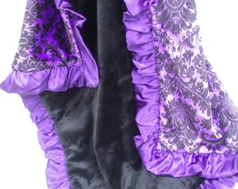 SALE Purple Damask and Black Minky Baby BlanketCan Be Personalized