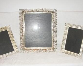 3 Vintage Metal Picture Frames Filigree Gold White Wash