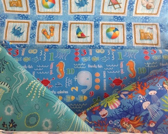 Under the sea, and one on the beach, sea turtle and tropical fat quarter set