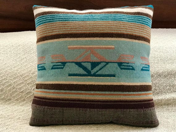 Wool Decorative Pillow / Accent Pillow / Rustic Pillow 16 x 16 Earthy Serape Stripes