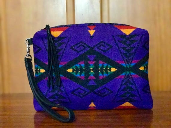 Wool Wristlet / Clutch XL Lined Purple & Black