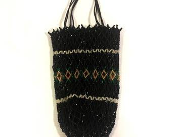 Vintage purse art Deco Flapper beaded purse black purse Evening purse Mesh purse Mini purse Coin Purse black beaded mesh handbag