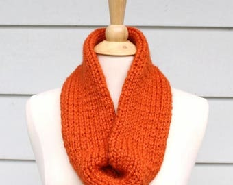Hand knit circle scarf, orange knit tube scarf, knit loop scarf, hand knit eternity scarf, orange knit necklace hand knit scarf winter scarf
