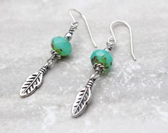 Turquoise and silver feather earrings, Aqua and silver feather earrings, modern vintage style earrings, Turquoise and silver earrings