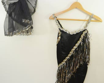 Vintage Ladies Dance Costume Black and Silver with Fringe and Sequins