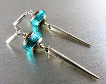 Lampwork With Sterling Silver Spike Lever Back Earrings