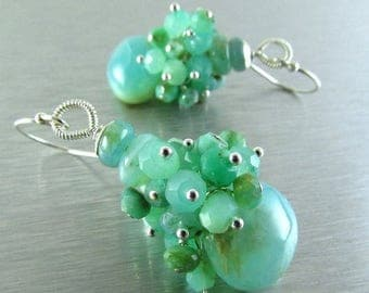 25 OFF Peruvian Opal and Chrysoprase Sterling Silver Cluster Earring
