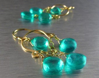 25 OFF Petite Aqua Green Quartz Gold Filled Chandelier Earrings