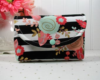 Snap Pouch, Large Snap Pouch, Cosmetic Pouch, Accessory Pouch... Coral, Mint and Gold Floral, Black and White Stripe