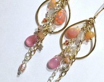 30% SALE Opal Hoop Earring Gold Hoop Earring Pastel Gem Hoop Gemstone Chain Chandelier Boho Chandelier Beaded Gold Hoop Blush Opal Hoop Read