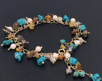 30% SALE Turquoise Bracelet Dangle Bracelet Handmade Wire Wrap 14kt Gold Fill Colorful Gemstone Bohemian Layering Bracelet Ethiopian Opal Bo