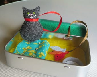 Travel Cat play set in felt with all items attached in Altoid tin with bed milk bowl and fish toy