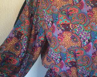 Vintage Diane Freis Dress, Purple and Black Paisley Boho Maxi Dress