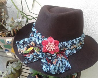Brown Felted Fedora with Missoni Style Band and Leather Flower