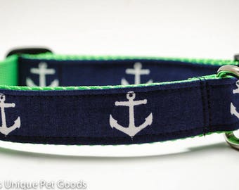 Anchors Away in Navy - Buckle or Martingale Dog Collar LIMITED